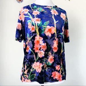 ZARA Small Blue Velvet Floral Sheer Blouse Top